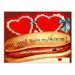 Vintage Retro Hot Dog Valentine Card