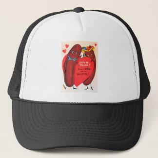 Vintage Retro Hot Dog Valentine Trucker Hat