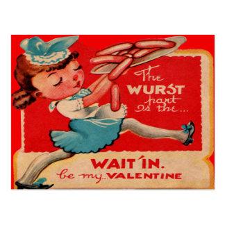 Vintage Retro Hot Dog Waitress Valentine Card
