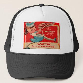 Vintage Retro Hot Dog Waitress Valentine Card Trucker Hat