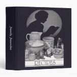 Vintage Retro Housewife Recipe Black and White 3 Ring Binder