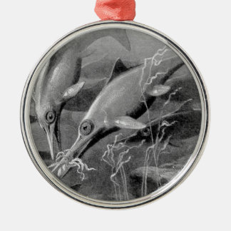 Vintage retro ichthyosaur black and white picture round metal christmas ornament