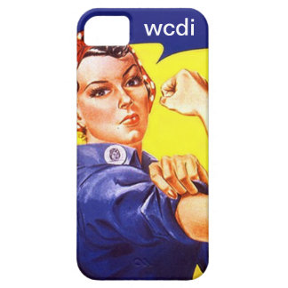 Vintage Retro iPhone 5 Rosie the Riveter wcdi txt iPhone 5 Cover