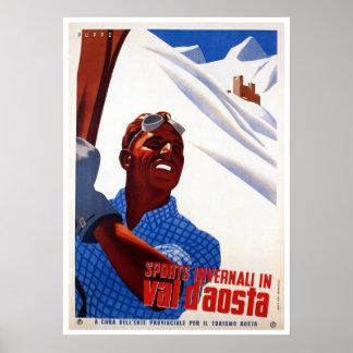 Vintage retro Italian winter sports ski travel Poster