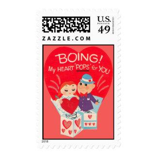 Vintage Retro Jack-In-A-Box Valentine Card Postage Stamp