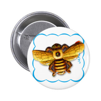 Vintage Retro Japan Kitsch Tin Insect Honey Bee Button