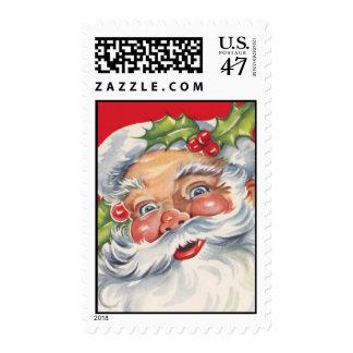 Vintage Retro Jolly Santa Postage Stamps