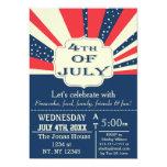 Vintage Retro July 4th Holiday party Invitation