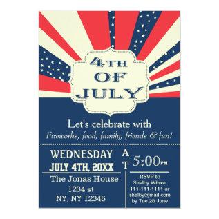 Vintage Retro July 4th Holiday Party Invitation at Zazzle