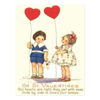 Vintage Retro Kids Heart Balloons Valentine Card