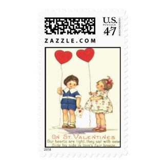 Vintage Retro Kids Heart Balloons Valentine Card Stamp