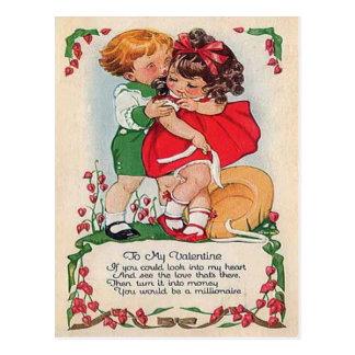 Vintage Retro Kids Hugging Hearts Valentine Card