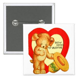 Vintage Retro Kids Valentine Bow Wow Puppy 2 Inch Square Button