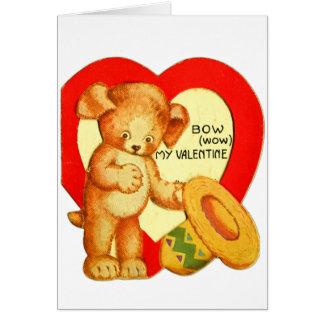 Vintage Retro Kids Valentine Bow Wow Puppy Greeting Card