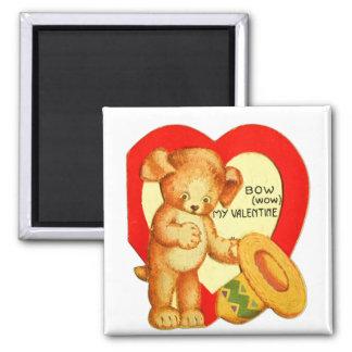 Vintage Retro Kids Valentine Bow Wow Puppy 2 Inch Square Magnet