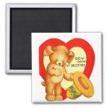 Vintage Retro Kids Valentine Bow Wow Puppy Magnets