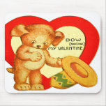 Vintage Retro Kids Valentine Bow Wow Puppy Mouse Pads