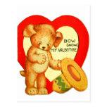 Vintage Retro Kids Valentine Bow Wow Puppy Postcards