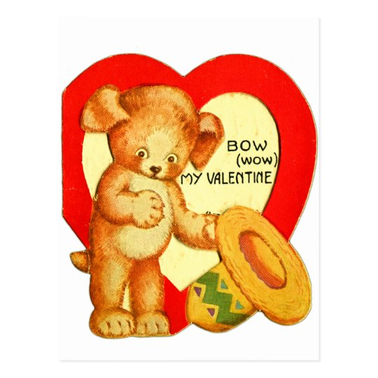 Vintage Retro Kids Valentine Bow Wow Puppy Postcard
