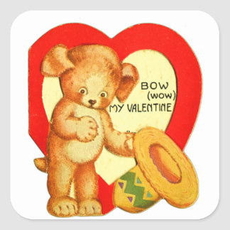 Vintage Retro Kids Valentine Bow Wow Puppy Square Sticker