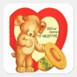 Vintage Retro Kids Valentine Bow Wow Puppy Sticker