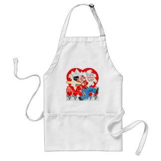 Vintage Retro Kids Valentine Command Your Heart Adult Apron