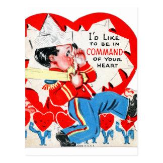 Vintage Retro Kids Valentine Command Your Heart Postcard