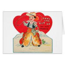 Vintage Retro Kids Valentine Cowboy Come & Get Me Card