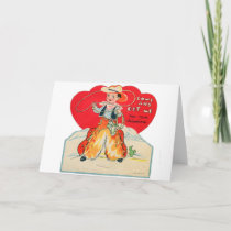 Vintage Retro Kids Valentine Cowboy Come & Get Me Holiday Card