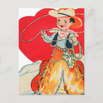 Vintage Retro Kids Valentine Cowboy Come & Get Me Holiday Postcard
