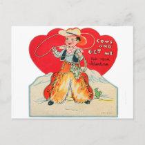 Vintage Retro Kids Valentine Cowboy Come & Get Me Holiday Postcard