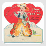 Vintage Retro Kids Valentine Cowboy Come & Get Me Square Sticker