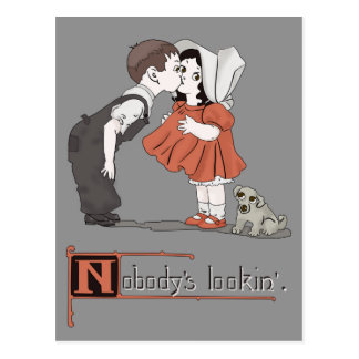 Vintage Retro Kissing Kids with Puppy Postcard