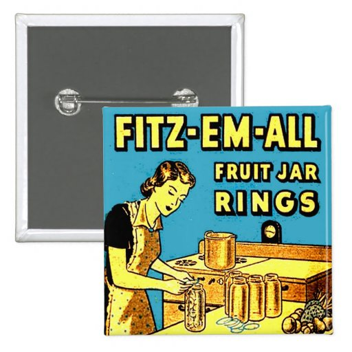 Vintage Retro Kitchen Lady Canning Fruit Jar Rings Pinback Buttons