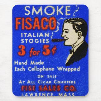 Vintage Retro Kitsch 30s Match Art Fiasco Cigars Mouse Pad