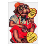 Vintage Retro Kitsch 30s Valentine Chimp Dear Do Greeting Card