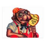 Vintage Retro Kitsch 30s Valentine Chimp Dear Do Postcard