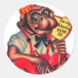 Vintage Retro Kitsch 30s Valentine Chimp Dear Do Classic Round Sticker