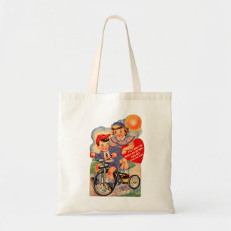 Vintage Retro Kitsch 30s Valentine Girl and Boy Tote Bag