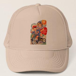Vintage Retro Kitsch 30s Valentine Girl and Boy Trucker Hat
