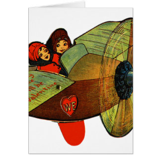 Vintage Retro Kitsch 30s Valentine Girls Airplane Card