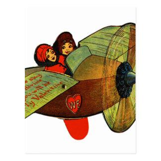 Vintage Retro Kitsch 30s Valentine Girls Airplane Postcard