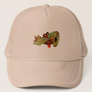 Vintage Retro Kitsch 30s Valentine Girls Airplane Trucker Hat