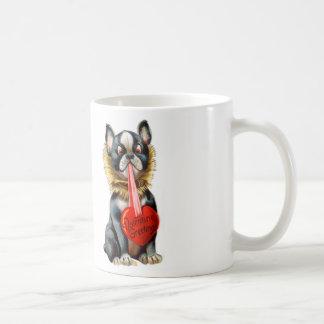 Vintage Retro Kitsch 30s Valentine Greetings Dog Classic White Coffee Mug