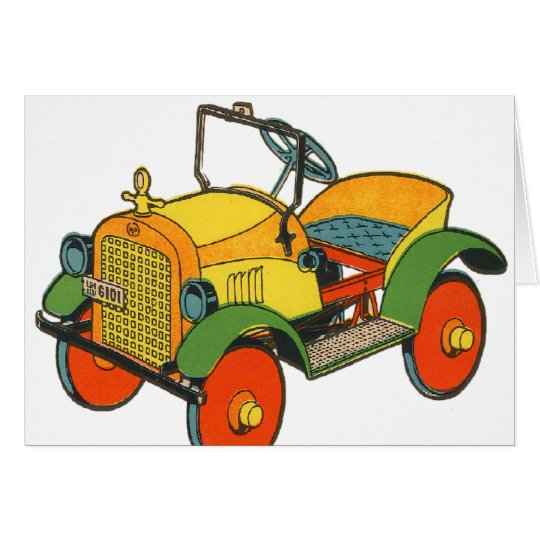 Vintage Retro Kitsch 30s Wood Toy Jalopy Car Card