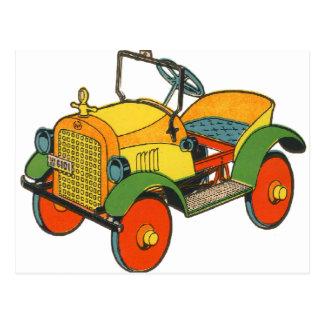 Vintage Retro Kitsch 30s Wood Toy Jalopy Car Postcard