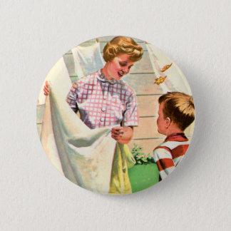 Vintage Retro Kitsch 40s Advert Art Laundry Wash Button