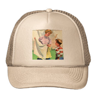 Vintage Retro Kitsch 40s Advert Art Laundry Wash Trucker Hat