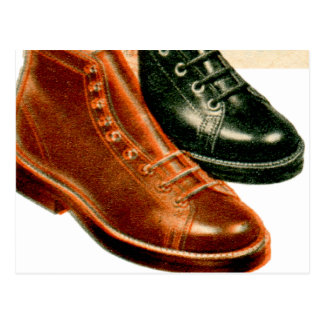 Vintage Retro Kitsch 40s Boys Boots Ad Catalog Art Postcard
