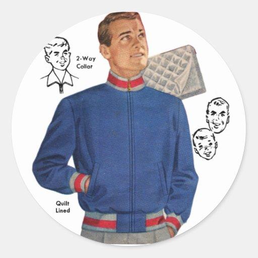 Vintage Retro Kitsch 40s Catalog Men's Jacket Round Sticker